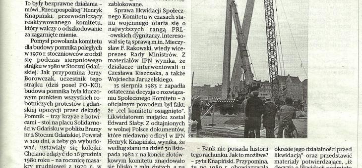 Zaginione pieniądze na budowę Pomnika