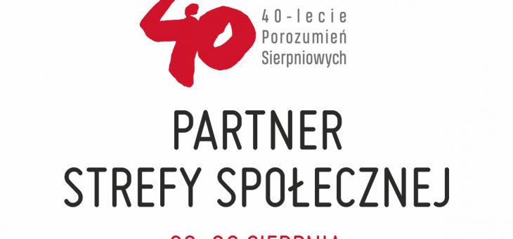 Jesteśmy partnerem Strefy Społecznej w Gdańsku w dniach 29-30 sierpnia